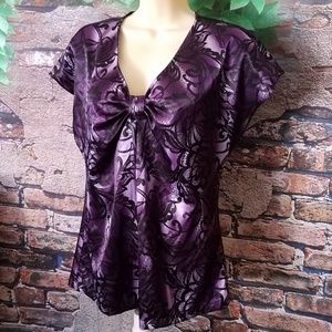 Vibrant Purple Sheen Cap Sleeve Blouse